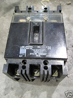 Westinghouse 30 Amp Circuit Breaker, FB3030SL, 600 VAC, 3 Pole, Used, Warranty