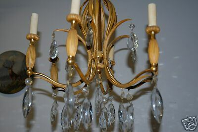 An Antique Heavy French Bronze / Crystal 6 Chandelier 9