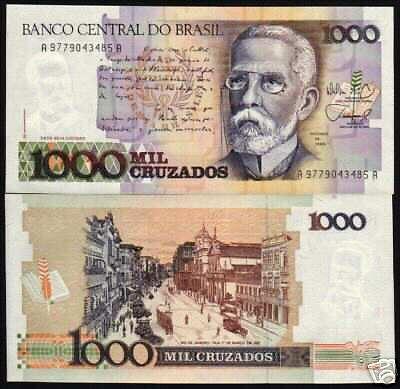 BRAZIL 1000 CRUZEIROS P213 1988 10 BUNDLE RIO HORSE CARRIAGE UNC 1,000 BILL NOTE
