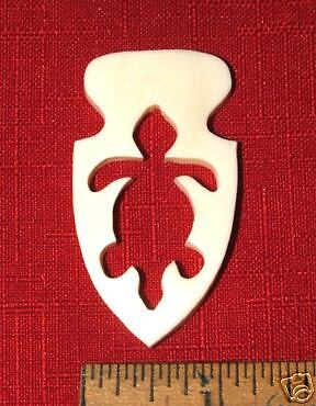 "Turtle & Arrowhead carved Bone Pendant 2.25"" x 1.25"""
